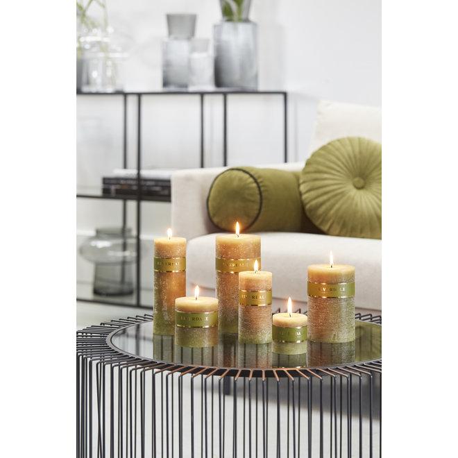 Candle Pillar sage green 7x14cm