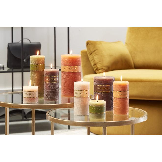 Candle Pillar sage green 7x20cm