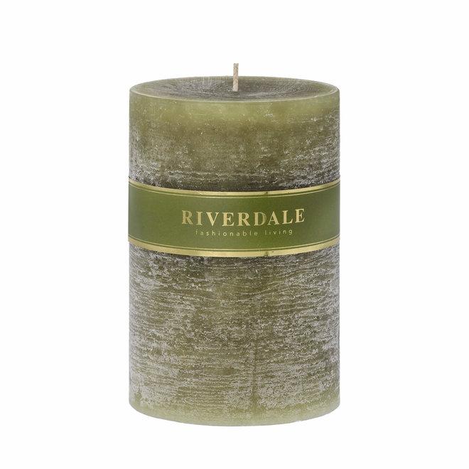 Candle Pillar sage green 10x15cm