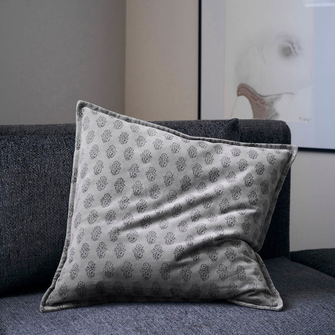Kussenhoes Velv grijs 50x50cm