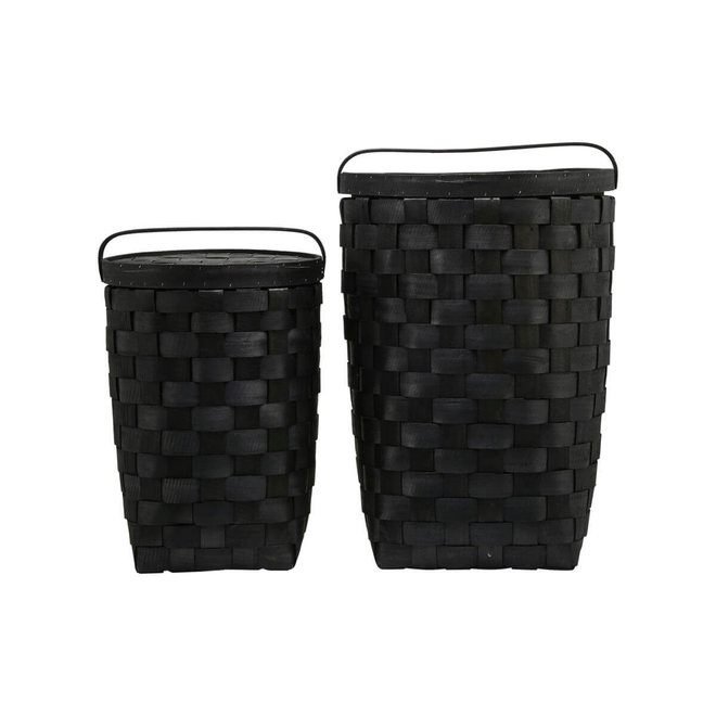 basket with lid Edition black - set of 2