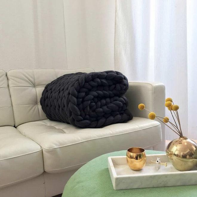 Chunky Cosima deken wol Antraciet 130x180cm