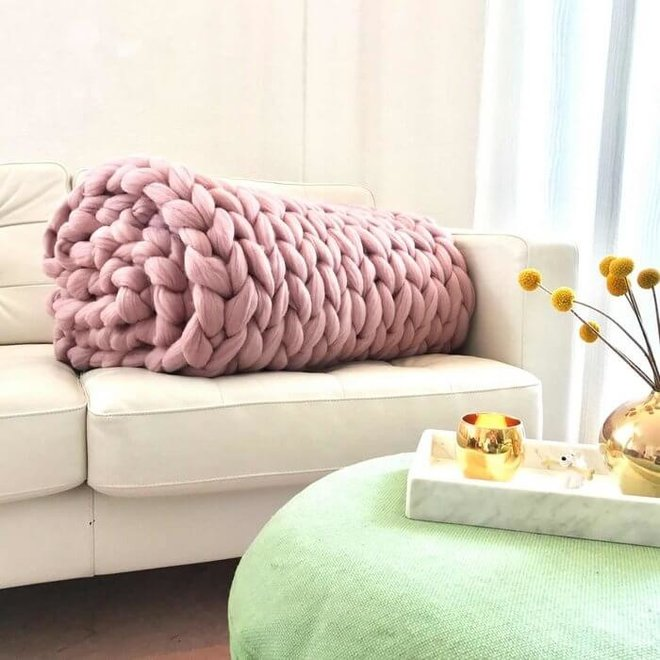 Chunky Cosima Decke Wolle rosa 130x180cm