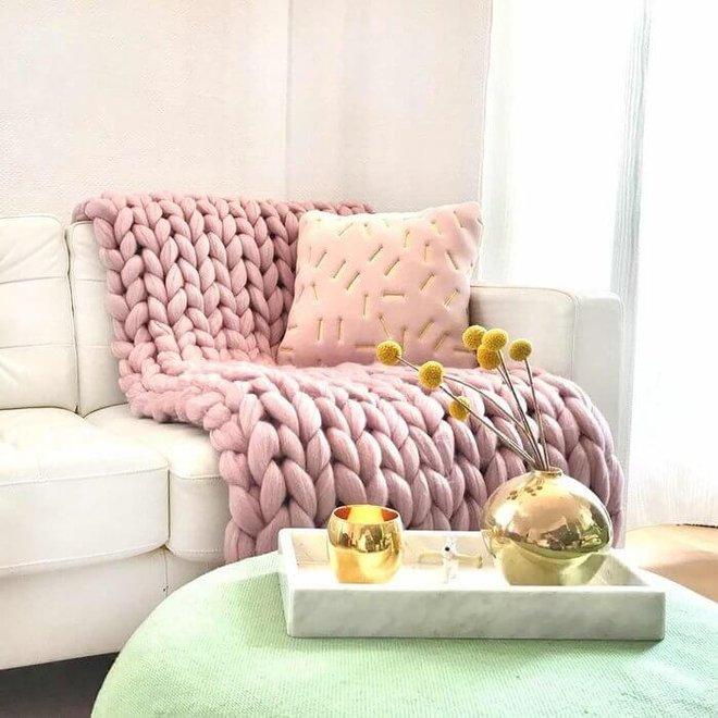 Chunky Cosima deken wol roze 130x180cm
