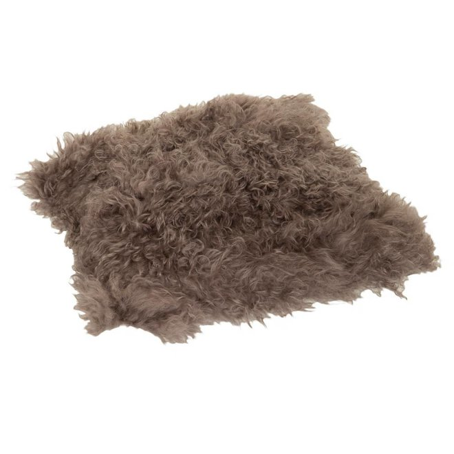 Kussen wol schapenvacht bruin
