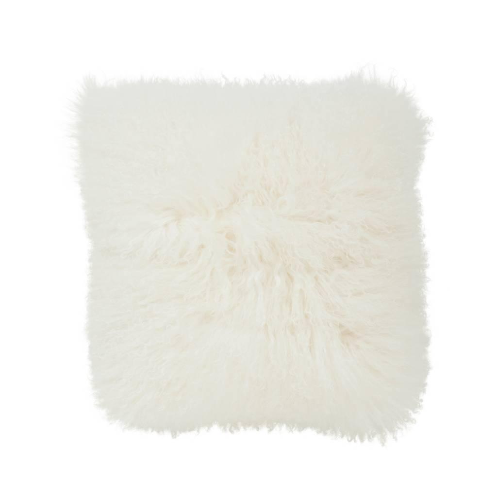Kussen wol schapenvacht wit