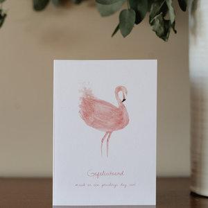 Bij & Mus Bij en Mus | Dubbele kaart Gefeliciteerd - Flamingo