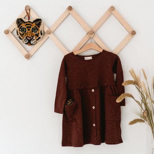 Mainio Mainio   'Button Dress' bruine jurk