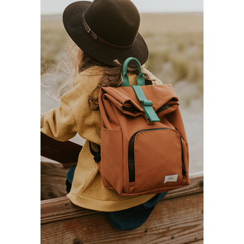 Dusq Dusq | Mini bag | Canvas | Sunset cognac + Forest green