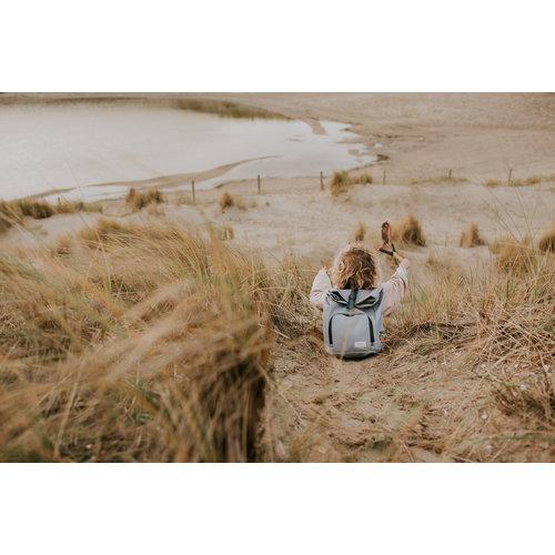 Dusq Dusq | Mini bag | Canvas | Cloud grey + Ocean blue