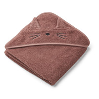 Liewood | Albert Hooded Towel | Cat dark rose Badcape
