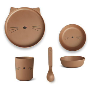 Liewood Liewood | Bamboo box set | Eetset cat terracotta