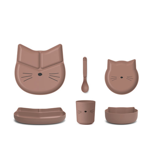 Liewood Liewood | Jules junior bamboe eetset | Cat dark rose