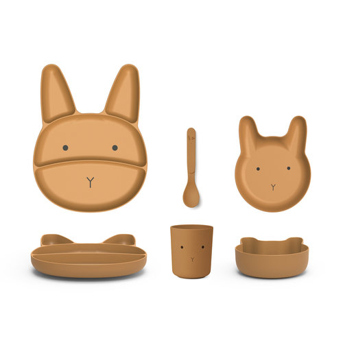 Liewood Liewood | Jules junior bamboe eetset | Rabbit mosterd