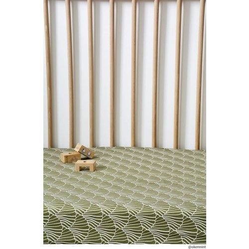 Swedish Linens Swedish Linens | Seashells Olive green | 40x80 hoeslaken wieg formaat