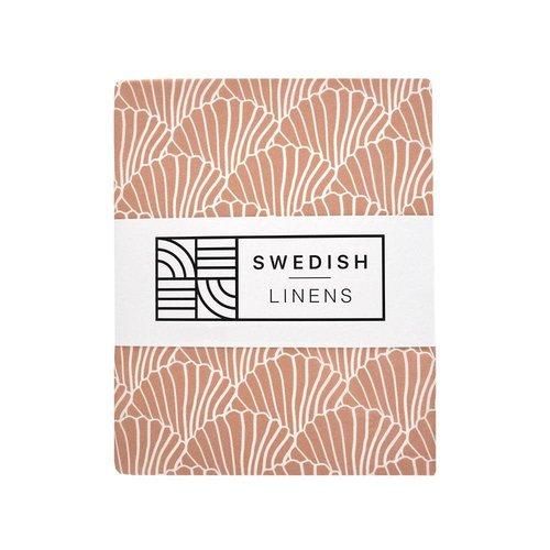 Swedish Linens Swedish Linens | Seashells Terracotta Pink | 90x200 hoeslaken 1-persoons