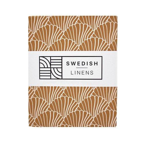 Swedish Linens Swedish Linens | Seashells Cinnamon brown | 60x120 hoeslaken ledikant formaat