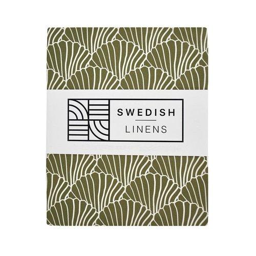 Swedish Linens Swedish Linens | Seashells Olive green | 60x120 hoeslaken ledikant formaat