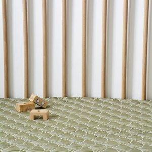 Swedish Linens Swedish Linens | Seashells Olive green | 90x200 hoeslaken 1-persoons