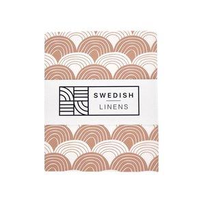 Swedish Linens Swedish Linens | Rainbows Terracotta Pink | 60x120 hoeslaken ledikant formaat