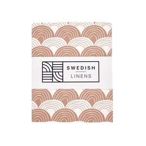 Swedish Linens Swedish Linens | Rainbows Terracotta pink | 90x200 hoeslaken 1-persoons