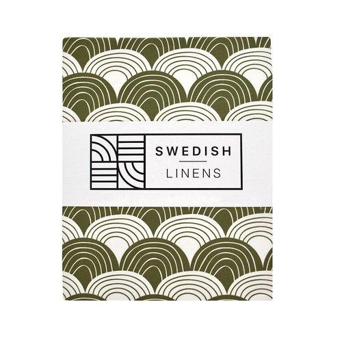 Swedish Linens Swedish Linens | Rainbow Olive green | 60x120 hoeslaken ledikant formaat