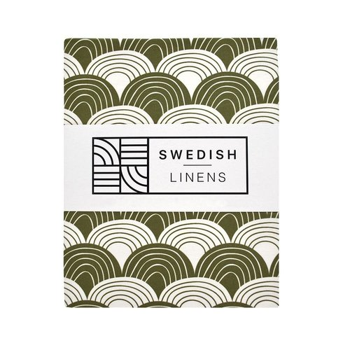 Swedish Linens Swedish Linens | Rainbows Olive green | 90x200 hoeslaken 1-persoons