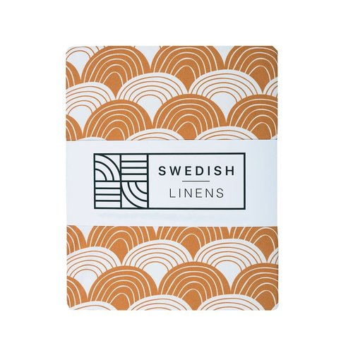 Swedish Linens Swedish Linens | Rainbows Cinnamon brown | 90x200 hoeslaken 1-persoons