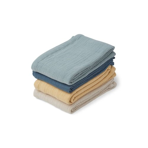 Liewood Liewood | Leon muslin cloth blue | 4 pack hydrofiel swaddles
