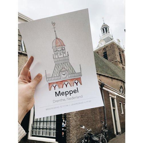 Bij & Mus Made by BE | A4 Poster Meppel Toren