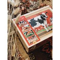 4 Puzzels over de boerderij in houten box