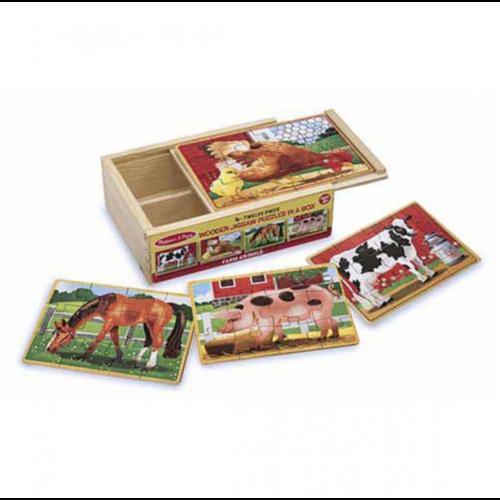Overig 4 Puzzels over de boerderij in houten box