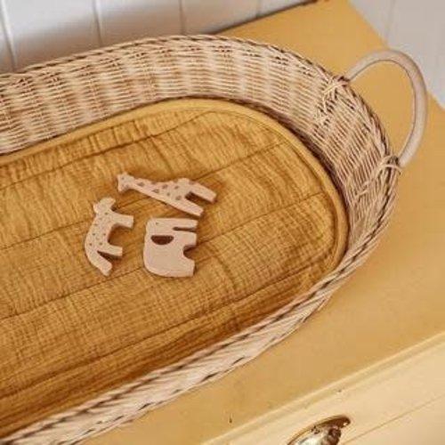 Olli Ella Olli Ella | Luxe Organic cotton liner Mustard | Inleg voor verschoonmand