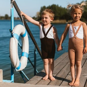 Silly Silas Silly Silas | Shorty maillot met bretels | Chocolade bruin