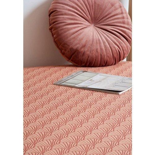Swedish Linens Swedish Linens | Seashells Terracotta Pink + Burgundy | 90x200 hoeslaken 1-persoons