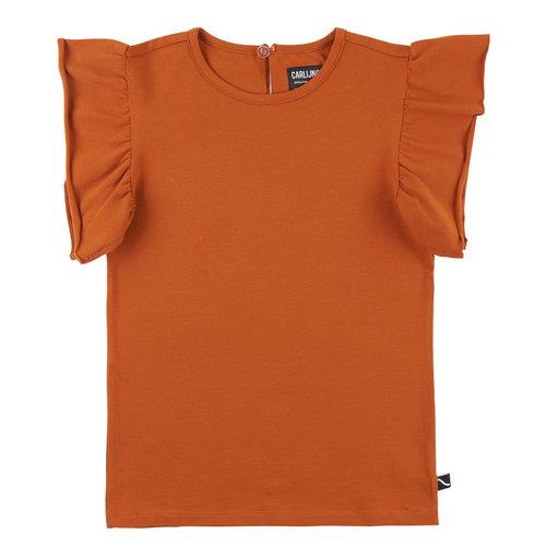 CarlijnQ CarlijnQ | Basics | Ruffled Short Sleeve Top | Roest