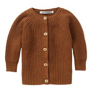 Mingo Mingo | Knit Baby Cardigan Pecan | Bruin gebreid vestje