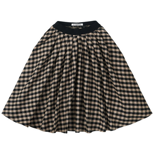 Mingo Mingo | Flannel Checked Midi Skirt | Geruite rok Black Caramel