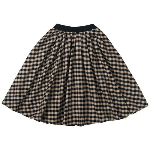 Mingo Mingo | Flannel Checked Midi Skirt | Geruite rok Black Caramel
