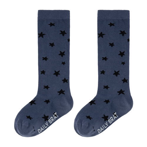 Daily Brat Daily Brat | Stars knee socks | Kniesokken Leave Blue