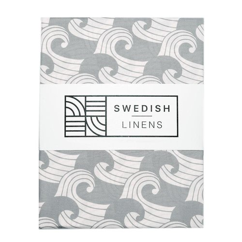 Swedish Linens Swedish Linens | Waves Tranquil Gray | 90x200 hoeslaken 1-persoons