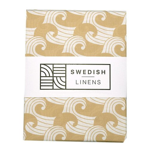 Swedish Linens Swedish Linens | Waves Warm Sand | 90x200 hoeslaken 1-persoons