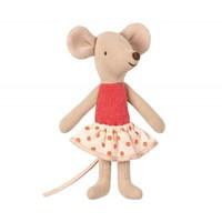 Maileg | Kleine zus rood polkadot rokje | Muis in luciferdoosje