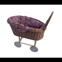 Hollie | Rotan poppenwagen met uitneembaar poppenmandje | Retro Flowers