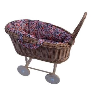 Hollie Hollie | Rotan poppenwagen met uitneembaar poppenmandje | Retro Flowers