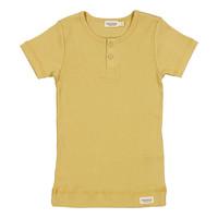 MarMar | Plain Tee rib t-shirt met knoopjes | 0211 Hay