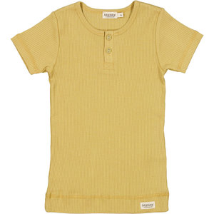 MarMar MarMar | Plain Tee rib t-shirt met knoopjes | 0211 Hay