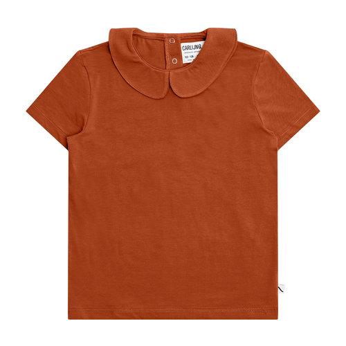 CarlijnQ CarlijnQ | Basics T-shirt collar | Roest bruin