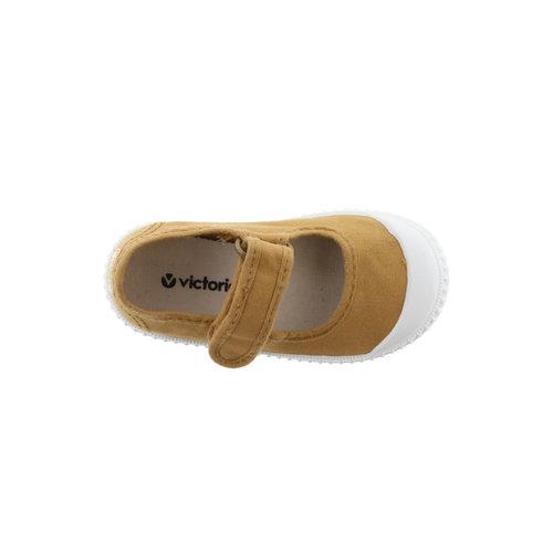 Victoria Victoria | 136625 | Katoenen sandaal met klittenband | Oro oker geel