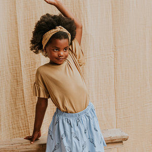 Sproet & Sprout Sproet & Sprout | T-Shirt Rib Ruffle Camel | Desert